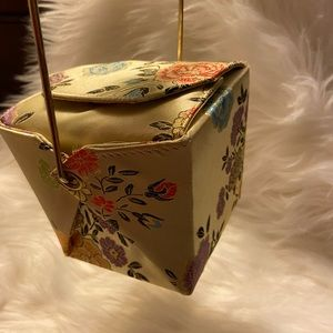 Vintage Satin Chinese box purse with Bamboo Handle